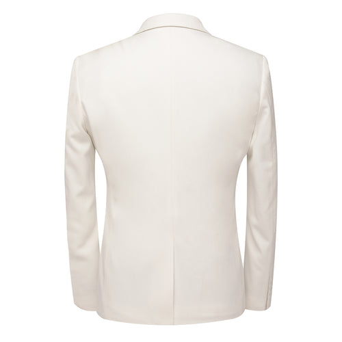 3-Piece Slim Fit Single Breasted White Suit
