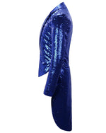 Blue Shiny Sequin Party Swallowtailed Coat
