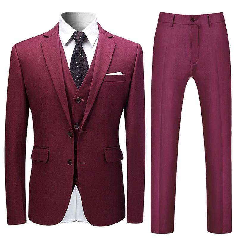 Maroon 3-Piece Suit Slim Fit Two Button Suit