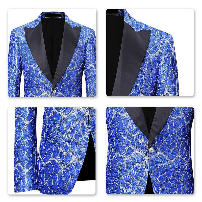 Blue Jacquard Blazer Floral Stylish Jacket