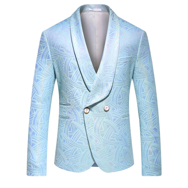 Double Breasted Baby Blue Print Blazer