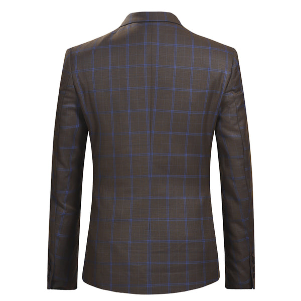 3-Piece Slim Fit Casual Plaid Suit Brown