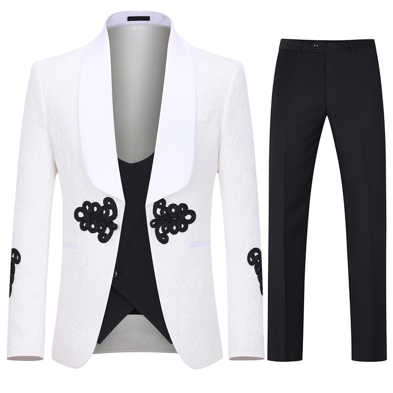 3-Piece Jacquard Floral Suit White