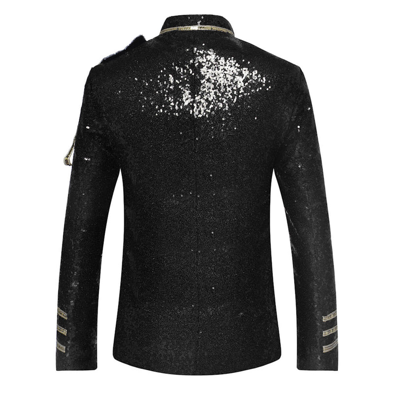 Black Costume Sequins Blazer Prom Vintage Jacket