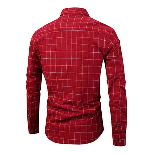 Slim Fit Plaid Cotton Shirt Red