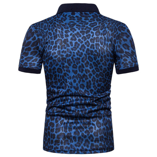 Slim Fit Leopard Polo Navy Shirt