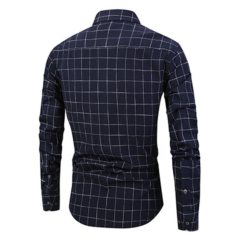 Slim Fit Plaid Cotton Shirt Navy