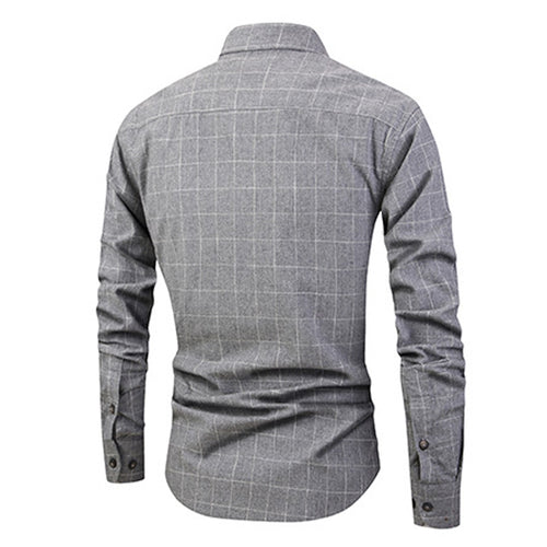 Slim Fit Plaid Cotton Shirt Grey