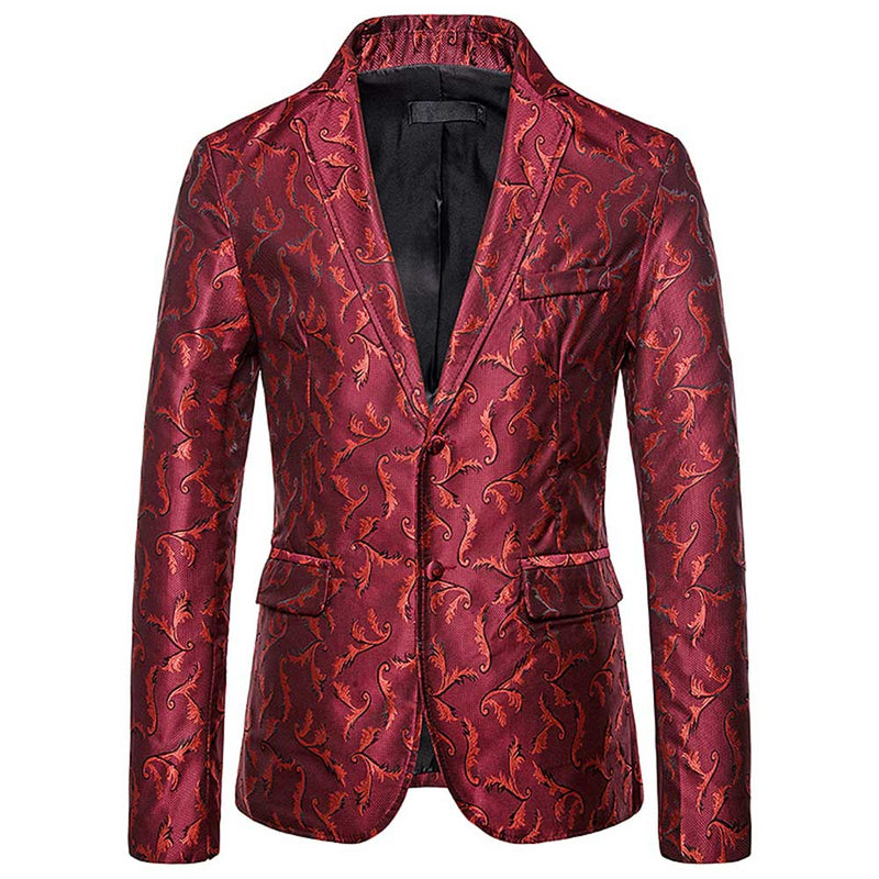 DarkRed Embroidered Blazer Two Buttons Floral Blazer