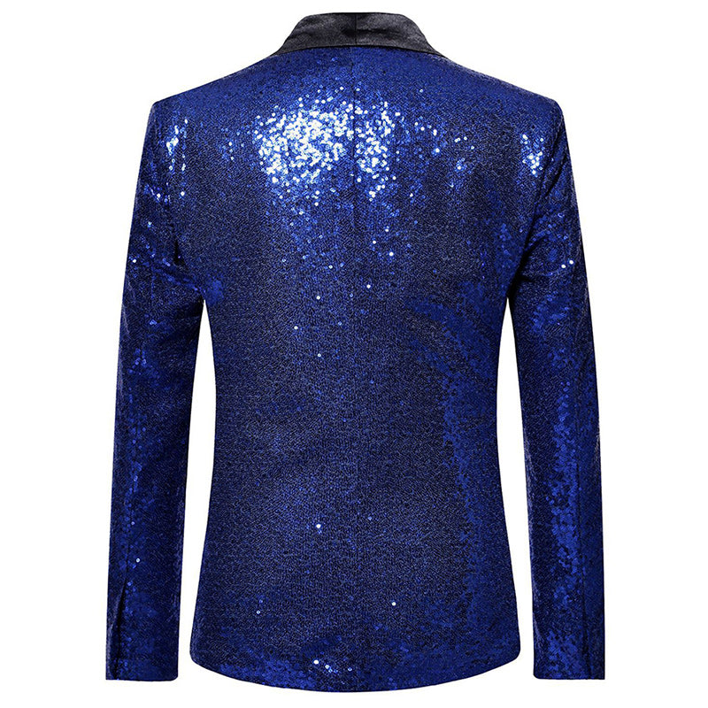 Shiny Sequin Jacket Blue Party Dinner Blazer