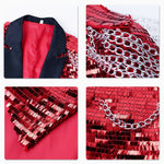 Red Shiny Sequin Party Swallowtailed Coat