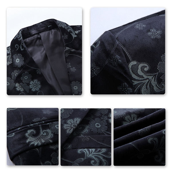 Slim Fit Casual Floral Printed Blazer Black
