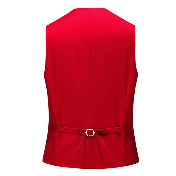 Slim Fit Single-Breasted Casual Vest Red