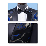 2-Piece Slim Fit Embroidered Blue Floral Suit