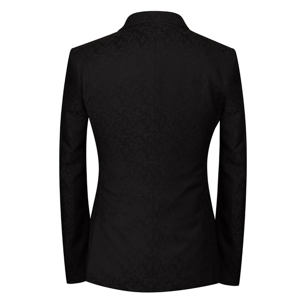 2-Piece Slim Fit Double Breasted Suit Black - Cloudstyle