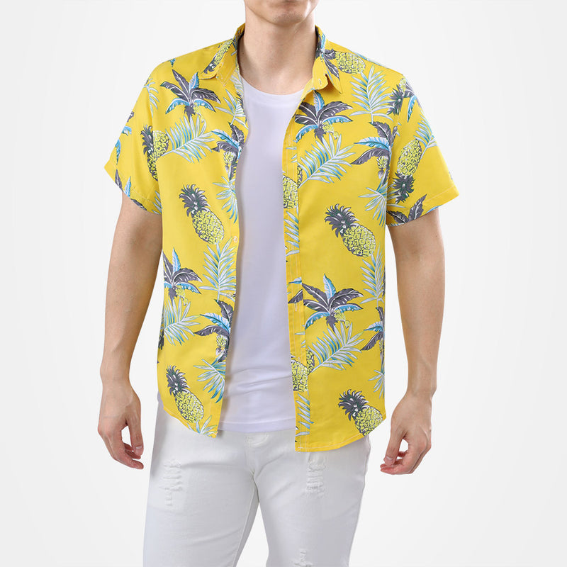 Pineapple Print Yellow Shirt For Men
