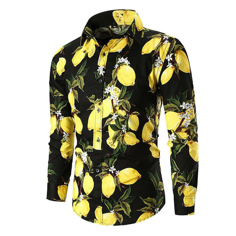Slim Fit Lemon Print Shirt Black