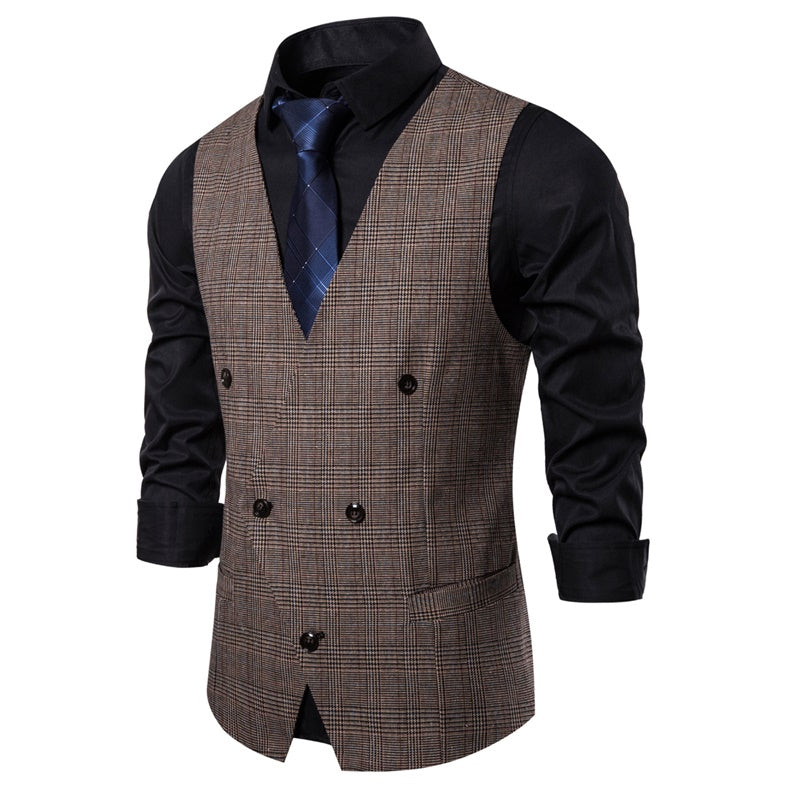 Brown Plaid Vest Slim Fit Casual V-Neck Vest