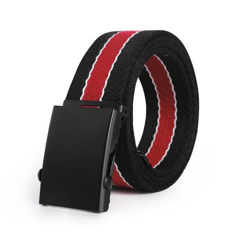 Casual Striped Webbing Belt Black and Red