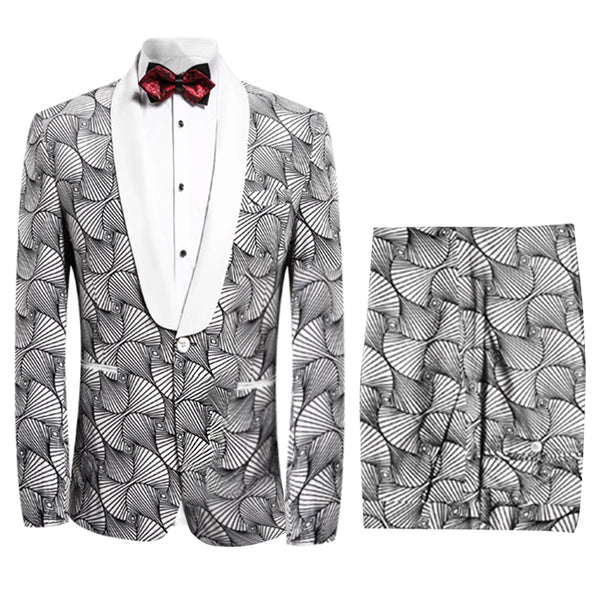 2-Piece Slim Fit Paisley Suit 2 Styles