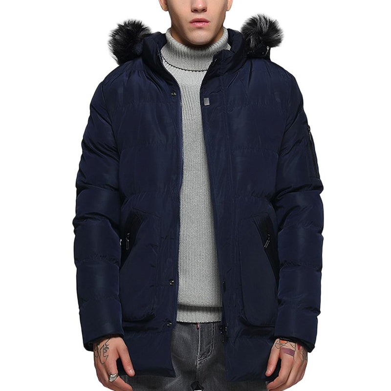 Hood Removable Faux Fur Coat Navy