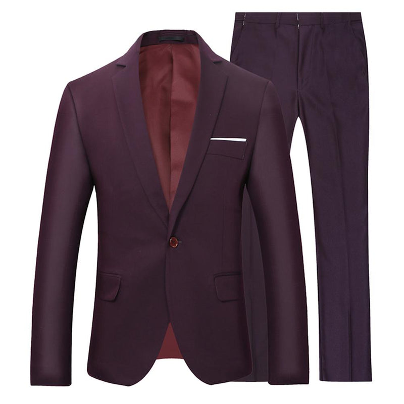 2-Piece Slim Fit Casual Suit Brown