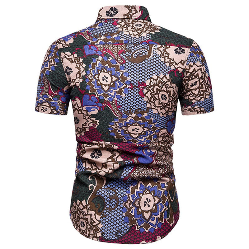 Slim Fit Floral Casual Shirt Blue