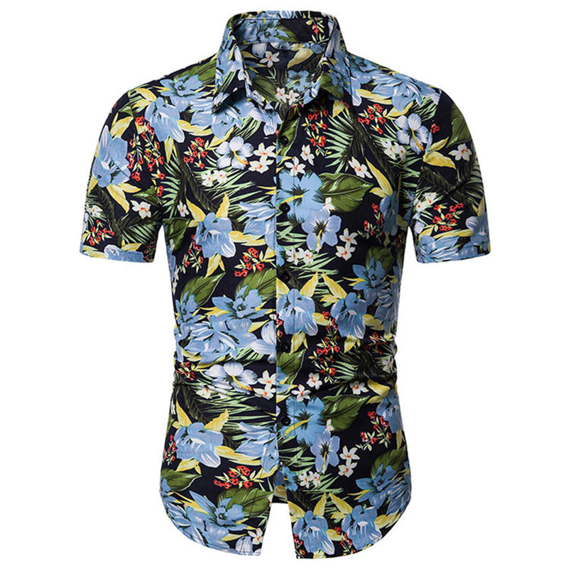 Slim Fit Floral Casual Shirt LightBlue