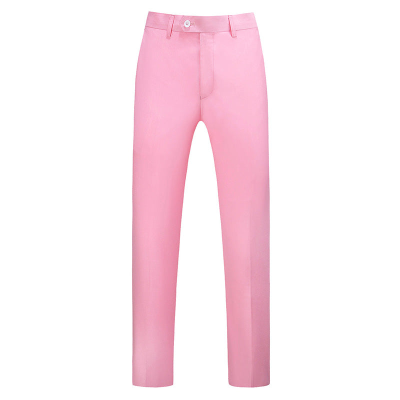 Baby Pink Modern Fit Straight Leg Classic Pants