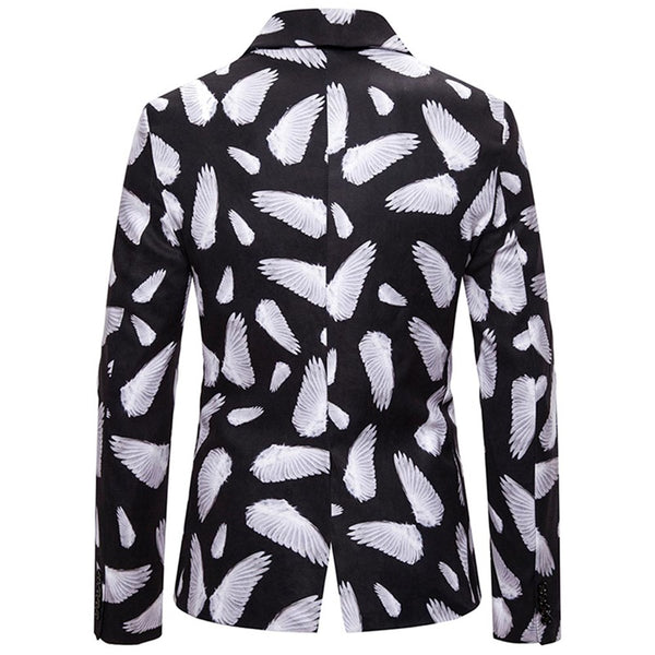 Slim Fit Wing Print Casual Blazer