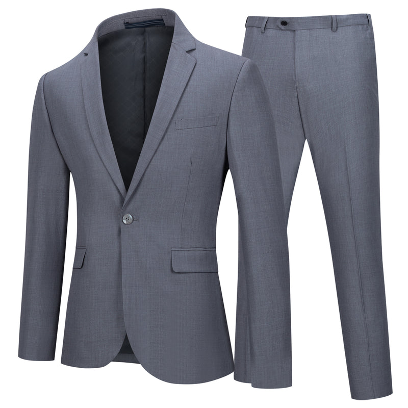 Two Piece Grey Suit One Button Suit