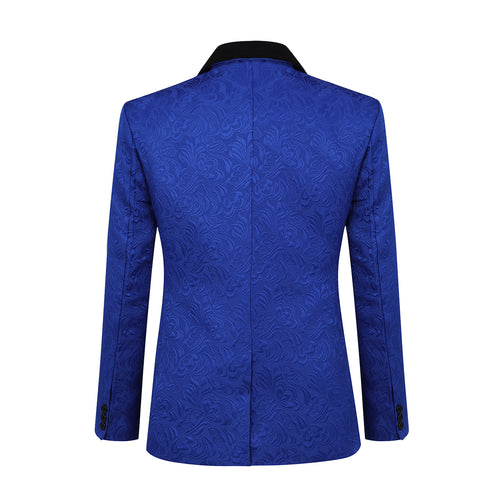 3-Piece Paisley Blue Suit Shawl Collar Suit