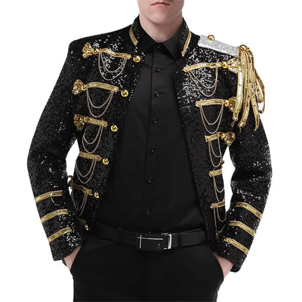 Slim Fit Black Costume Sequin Blazer