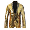 Gold Silver Shawl Collar Sequins Dance Party Jacket