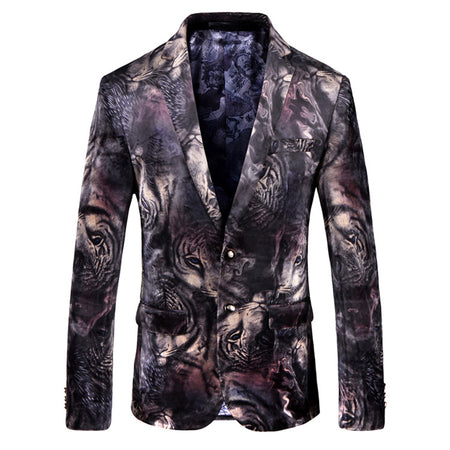 Slim Fit Digital Floral Blazer Black