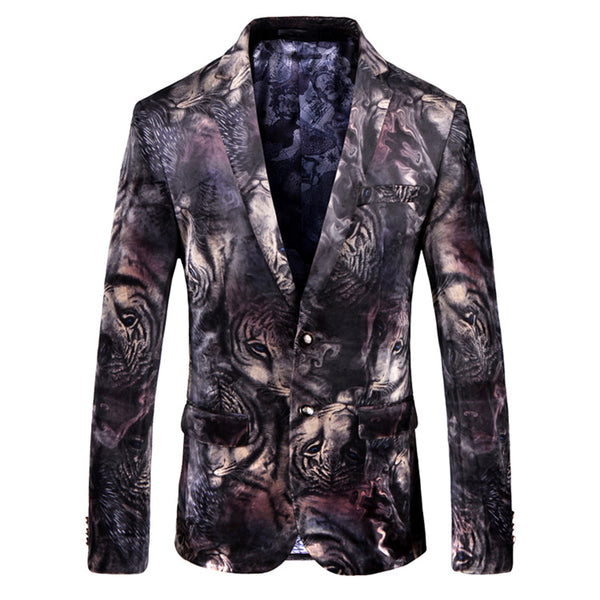 Slim Fit Printing Blazer Black
