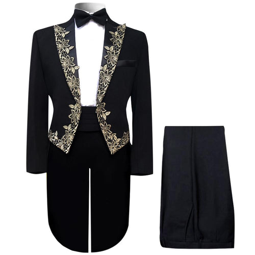 2-Piece Embroidered Tuxedo Suit Black - Cloudstyle