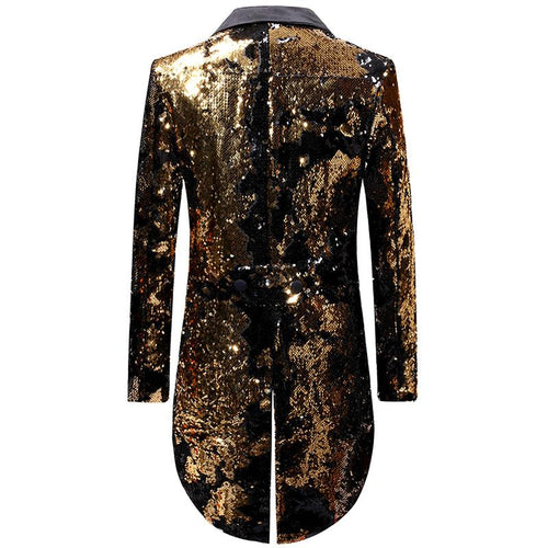 Gold Reversible Sequin Swallowtail Blazer