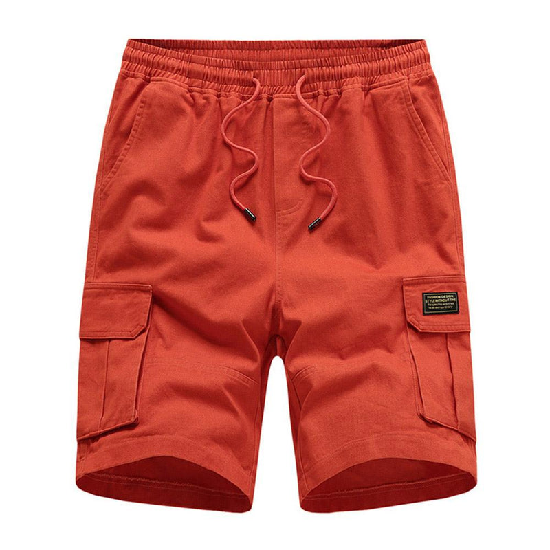 Relaxed Fit Solid Color Cargo Shorts Orange