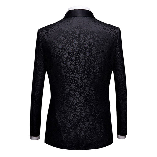 2-Piece Print Suit Slim Fit Paisley Black Suit