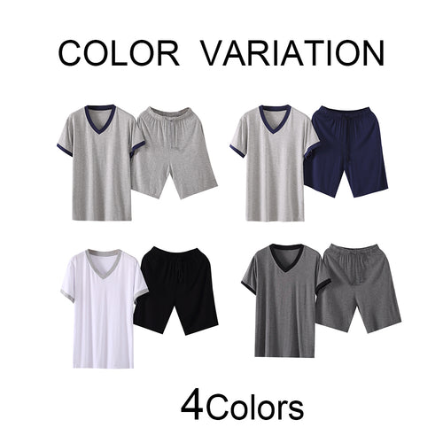 Pullover Modal Breathable T-Shirt Pajama With Shorts 4 Colors