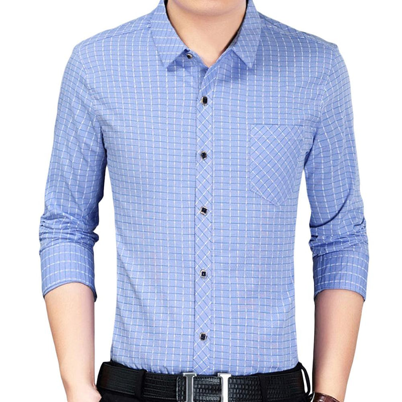 Slim Fit Plaid Shirt LightBlue