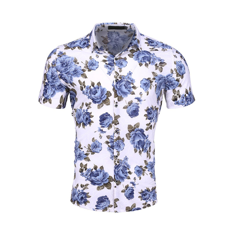 Slim Fit Floral Stretchy Shirt SteelBlue