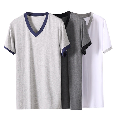 V-Neck Short Sleeve Pajama T-Shirt 3 Colors
