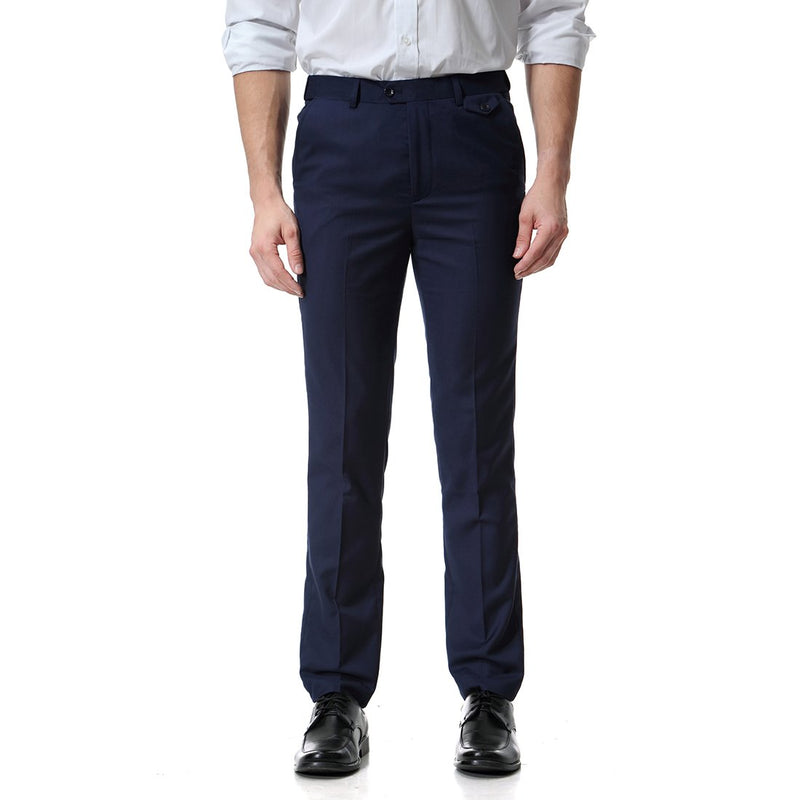 Navy Relaxed Flat Front Straight-Fit Suit Dress Pant
