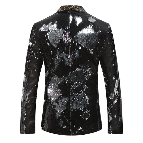 Silver Black Shawl Collar Sequins Dance Party Jacket