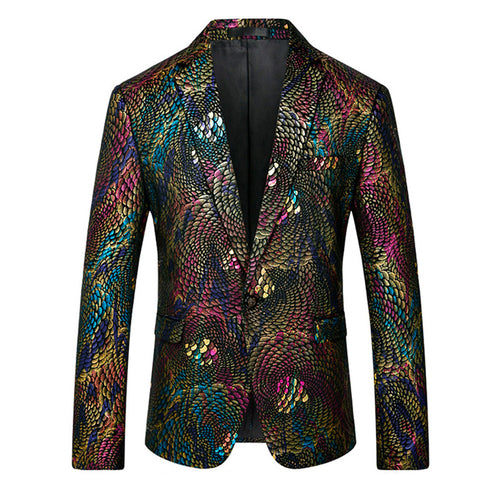 Slim Fit Sequin Dinner Blazer Green