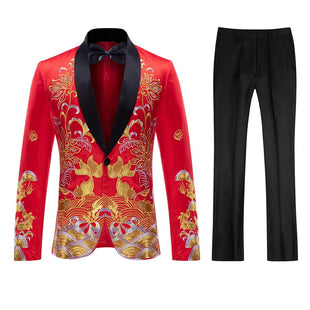 2-Piece Slim Fit Appliqued Floral White Suit