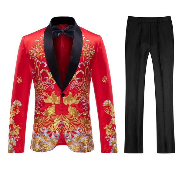 2-Piece Slim Fit Totem Embroidered Suit 2 Colors