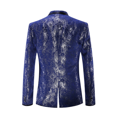 2-Piece Slim Fit Floral Print Suit Blue